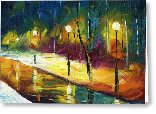 Oil Lamp Greeting Cards - Winter Park Evening Greeting Card by Ash Hussein