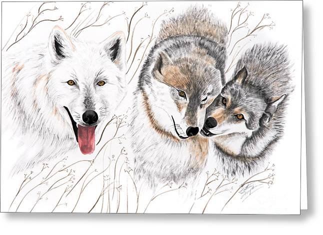 Wolves Drawings Greeting Cards - Winter Play Greeting Card by Joette Snyder