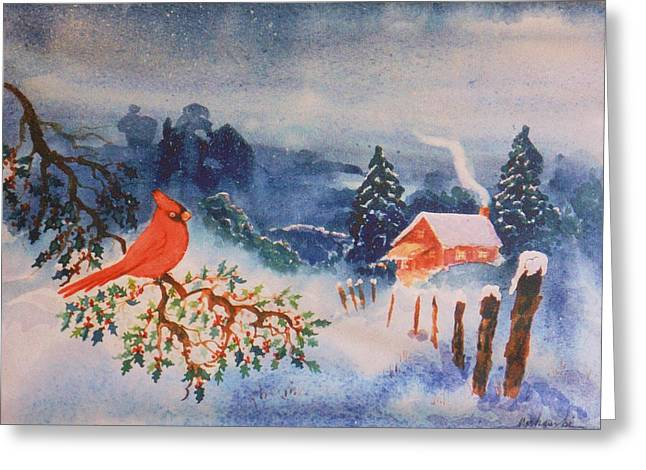 Holly Berry Still Life Greeting Cards - Winter Red Bird Greeting Card by Bill Joseph  Markowski
