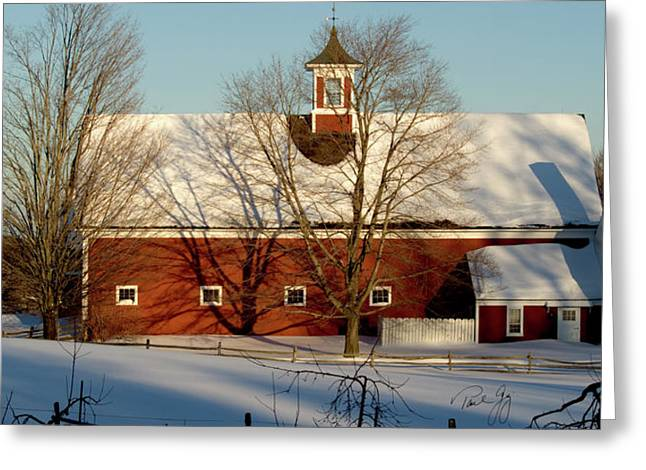 New England Snow Scene Greeting Cards - Winter Red Greeting Card by Paul Gaj