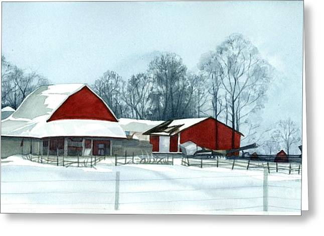 Winter Farm Scene Greeting Cards - Winter Respite in the Heartland Greeting Card by Barbara Jewell