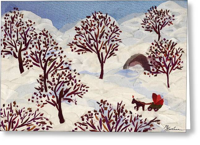 Winter Tapestries - Textiles Greeting Cards - Winter Ride Greeting Card by Marina Gershman