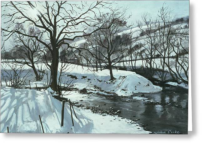 Wintry Landscape Greeting Cards - Winter River Greeting Card by John Cooke