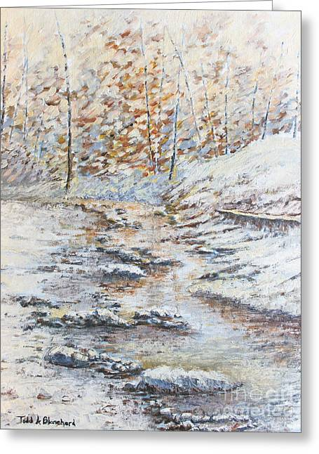 Smoky Paintings Greeting Cards - Winter River Greeting Card by Todd A Blanchard