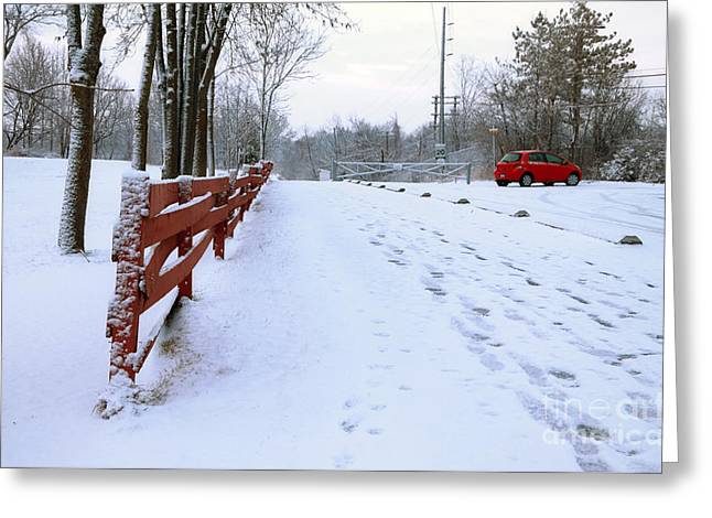 Winter Prints Greeting Cards - Winter Road Greeting Card by Charline Xia