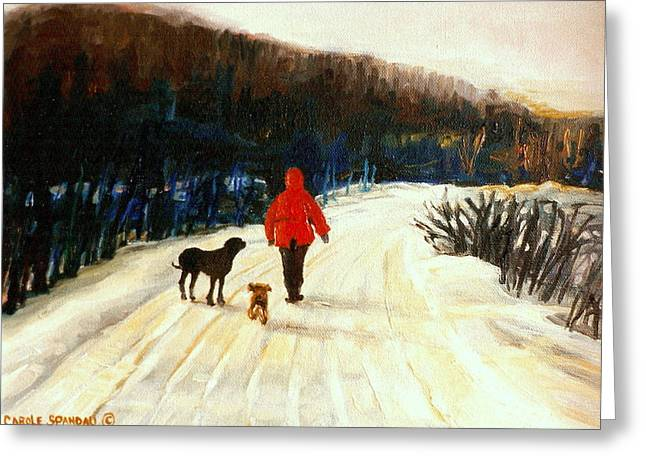 WINTER ROAD QUEBEC LAURENTIAN LANDSCAPE Greeting Card by CAROLE SPANDAU