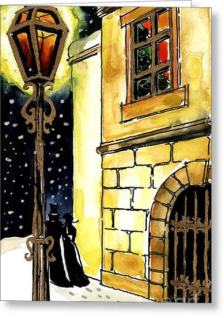 Old Time Greeting Cards - Winter Romance Greeting Card by Mona Edulesco