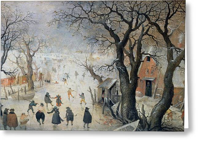 Skaters Greeting Cards - Winter Scene Greeting Card by Hendrik Avercamp