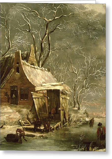 Amsterdam Greeting Cards - Winter Scene Greeting Card by Jan Beerstraten