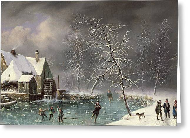 Snowfall Greeting Cards - Winter Scene Greeting Card by Louis Claude Mallebranche