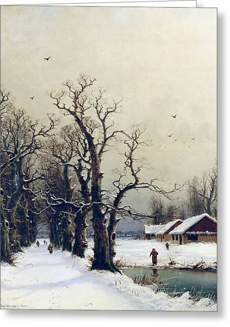 Winter Greeting Cards - Winter scene Greeting Card by Nils Hans Christiansen