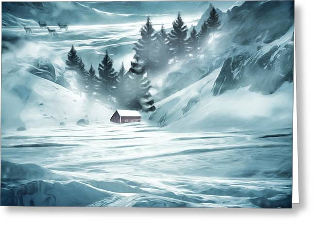 Red Barn In Winter Greeting Cards - Winter Seclusion Greeting Card by Lourry Legarde
