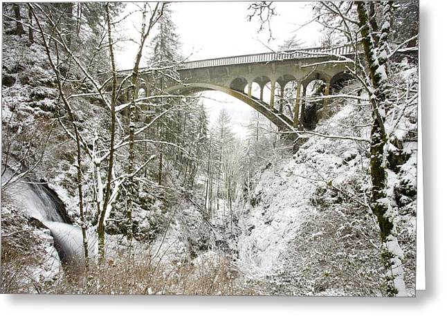 A Natural Bridge Greeting Cards - Winter, Shepperds Dell, Columbia River Greeting Card by Craig Tuttle