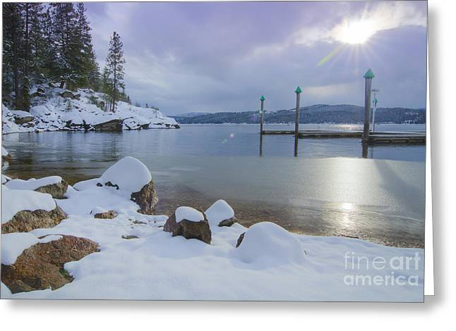 Snow-covered Landscape Greeting Cards - Winter Shore Greeting Card by Idaho Scenic Images Linda Lantzy
