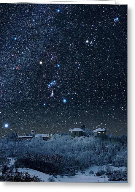 Snowy Night Night Greeting Cards - Winter Sky With Orion Constellation Greeting Card by Eckhard Slawik