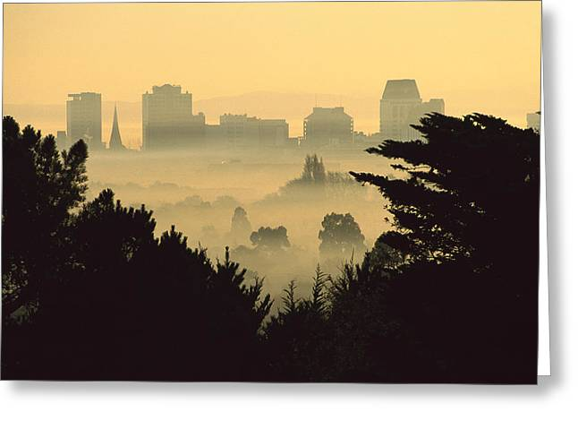 Winter Smog Over The City Greeting Card by Colin Monteath
