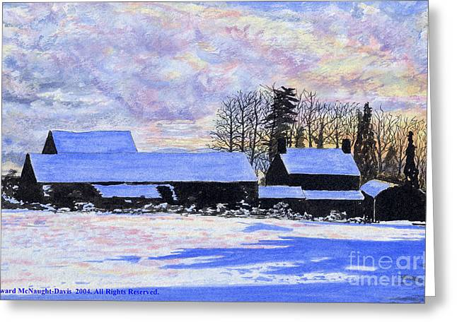 Grazing Snow Mixed Media Greeting Cards - Winter Snow at Cwm Mynach Greeting Card by Edward McNaught-Davis