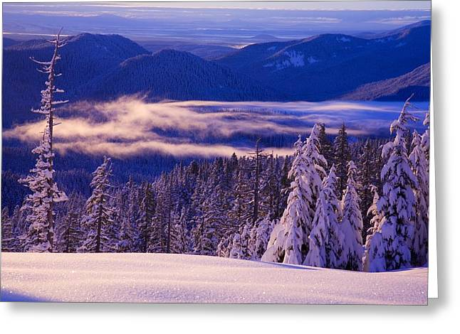 Peaceful Scenery Greeting Cards - Winter Snow, Cascade Range, Oregon, Usa Greeting Card by Craig Tuttle