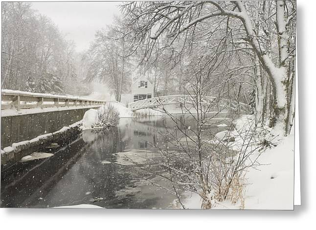 Somesville Maine Greeting Cards - Winter Snowstorm In Somesville Maine Greeting Card by Keith Webber Jr