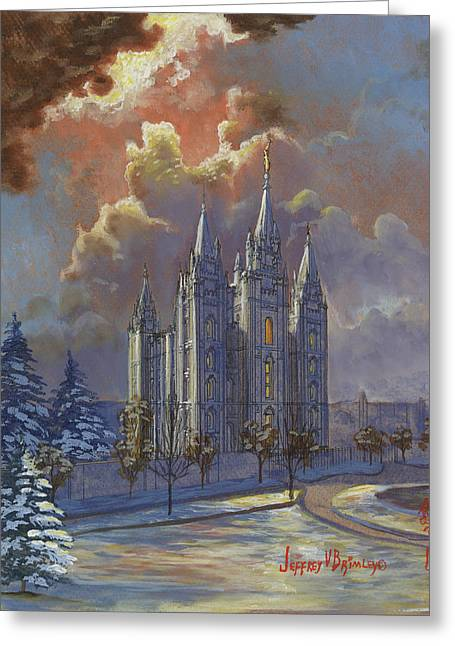 Salt Lake Temple Greeting Cards - Winter Solace Greeting Card by Jeff Brimley