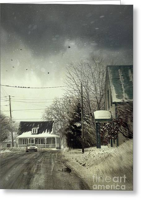 Alone Photographs Greeting Cards - Winter street scene with a car in a small town  Greeting Card by Sandra Cunningham