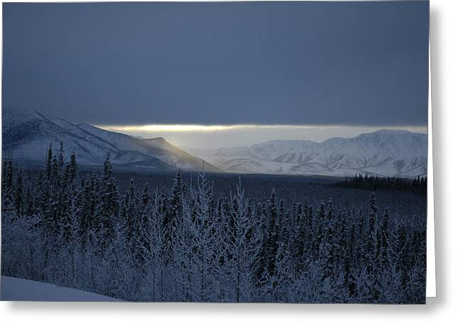 Sun Breaking Through Clouds Photographs Greeting Cards - Winter Sun Alaska Greeting Card by John Wolf
