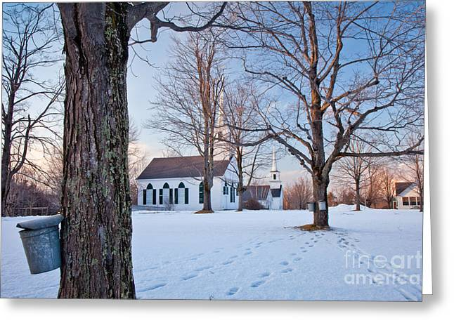 Winter Sunset in New Salem Greeting Card by Susan Cole Kelly