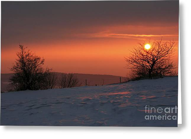 Gloaming Greeting Cards - Winter Sunset Greeting Card by Michal Boubin