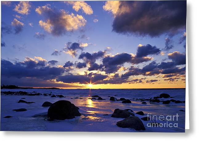 Sunset Bay State Park Greeting Cards - Winter Sunset on Lake Michigan - FM000053 Greeting Card by Daniel Dempster