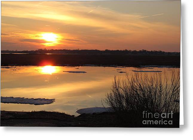 Griswold Greeting Cards - Winter Sunset over the Causeway Greeting Card by B Rossitto