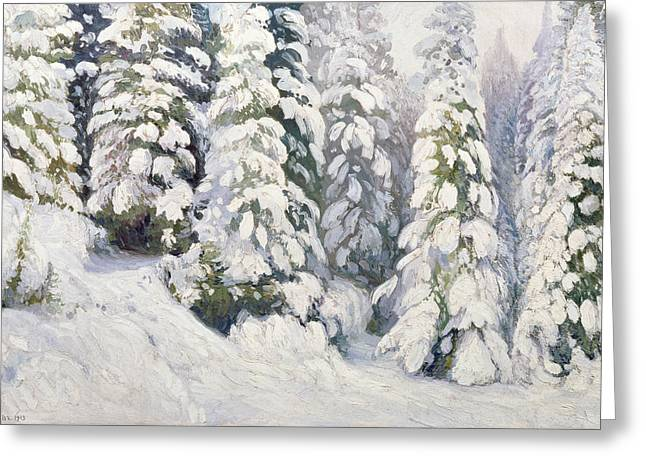 Woodland Scenes Paintings Greeting Cards - Winter Tale Greeting Card by Aleksandr Alekseevich Borisov