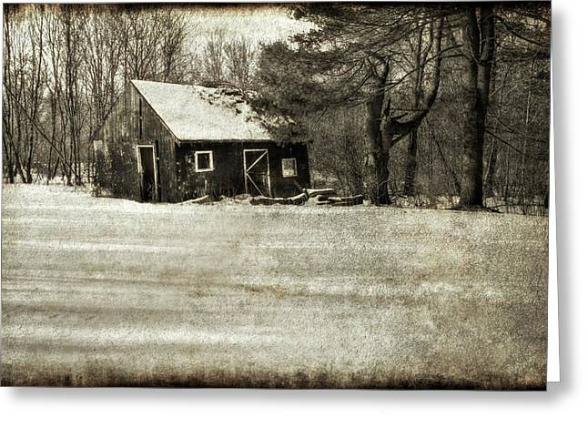 Wintery Barn Greeting Cards - Winter Textures Greeting Card by Evelina Kremsdorf