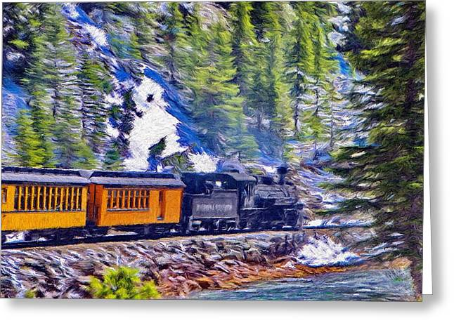 Rails Greeting Cards - Winter Train Greeting Card by Jeff Kolker