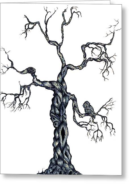 Tree Roots Mixed Media Greeting Cards - Winter Tree Greeting Card by Alissa Allery