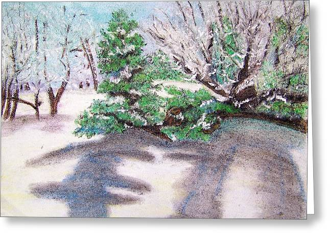 Ground Pastels Greeting Cards - Winter Trees Greeting Card by Katina Cote