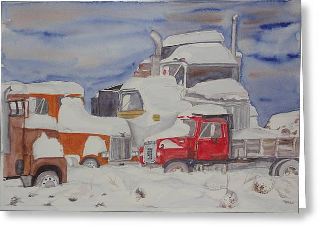 Aimless Greeting Cards - Winter Truck Yard Greeting Card by Tim Bhajjan