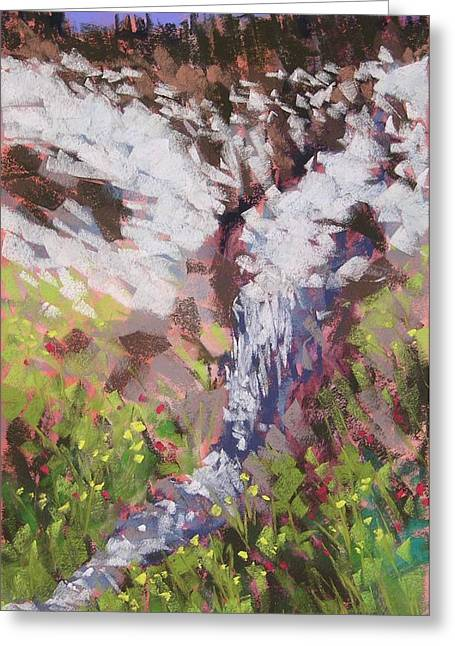 Snowscape Pastels Greeting Cards - Winter Turns to Spring Greeting Card by Mary McInnis