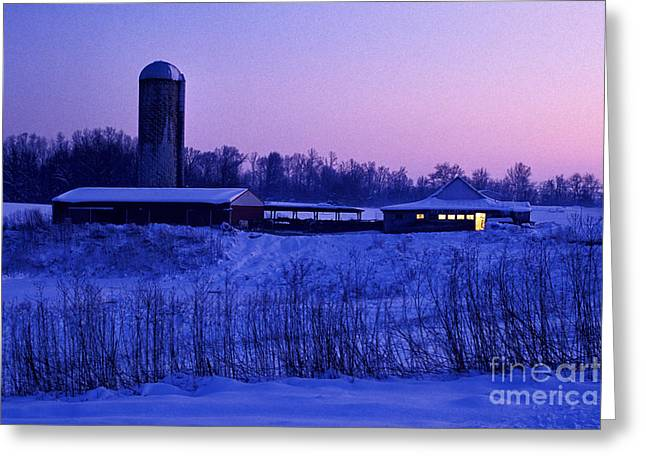 Rural Indiana Greeting Cards - Winter Twilight - FS000715 Greeting Card by Daniel Dempster