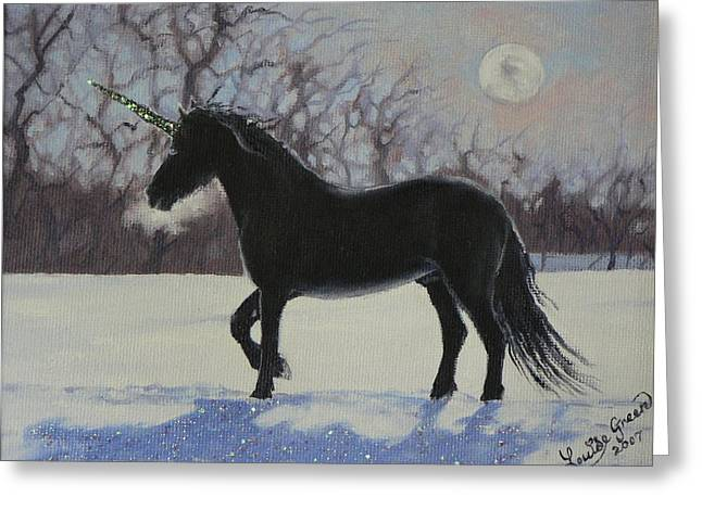 Black Unicorn Greeting Cards - Winter Unicorn Greeting Card by Louise Green