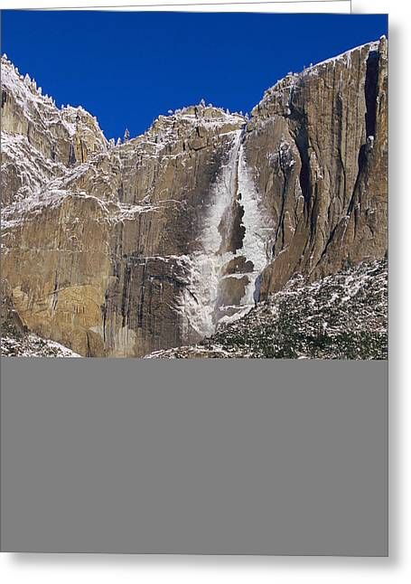 Winter View Of Yosemite Falls Greeting Card by Marc Moritsch