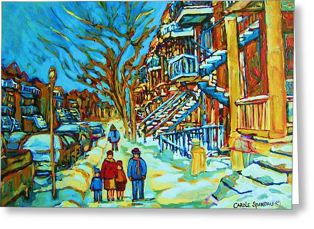 Prince Arthur Street Greeting Cards - Winter  Walk In The City Greeting Card by Carole Spandau