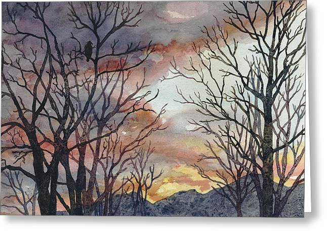 Bare Trees Greeting Cards - Winter Watch Greeting Card by Anne Gifford