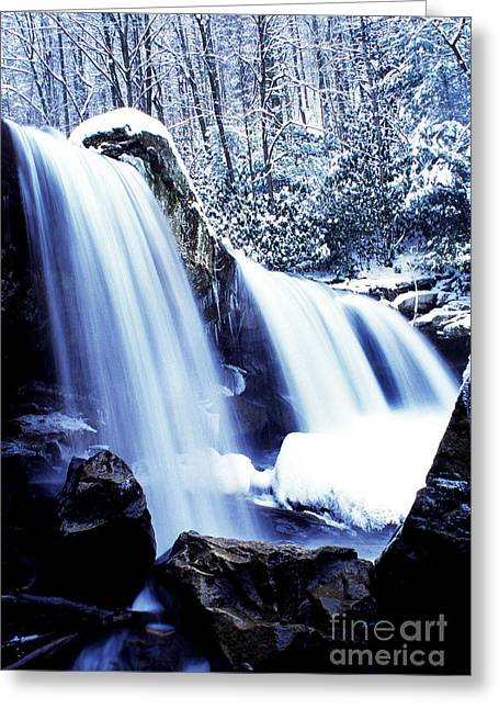 Mccoy Greeting Cards - Winter Waterfall Greeting Card by Thomas R Fletcher