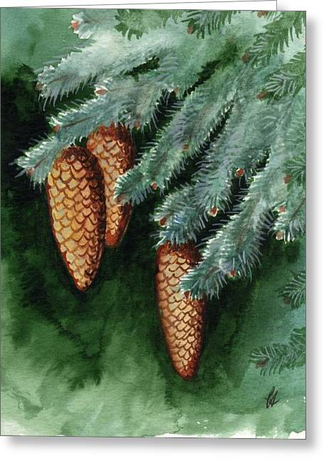 Pine Cones Paintings Greeting Cards - Winter Windchimes Greeting Card by Carrie Auwaerter