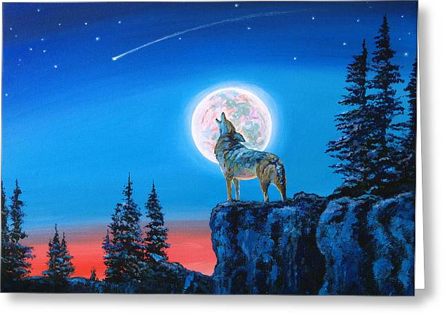 Wolf Moon Greeting Cards - Winter Wolf Moon Greeting Card by David Lloyd Glover