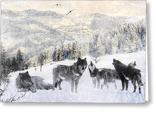 Huskies Greeting Cards - Winter Wolves Greeting Card by Lourry Legarde