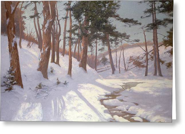 Winter Scenes Rural Scenes Paintings Greeting Cards - Winter woodland with a stream Greeting Card by James MacLaren