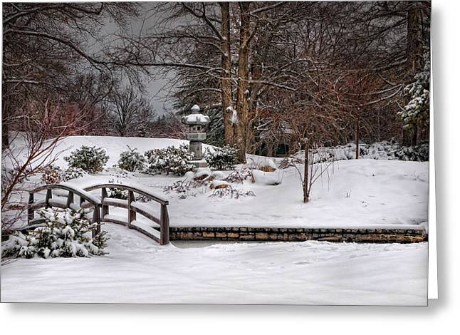 Snow . Bridge Greeting Cards - Winter Zen Greeting Card by Robin-lee Vieira