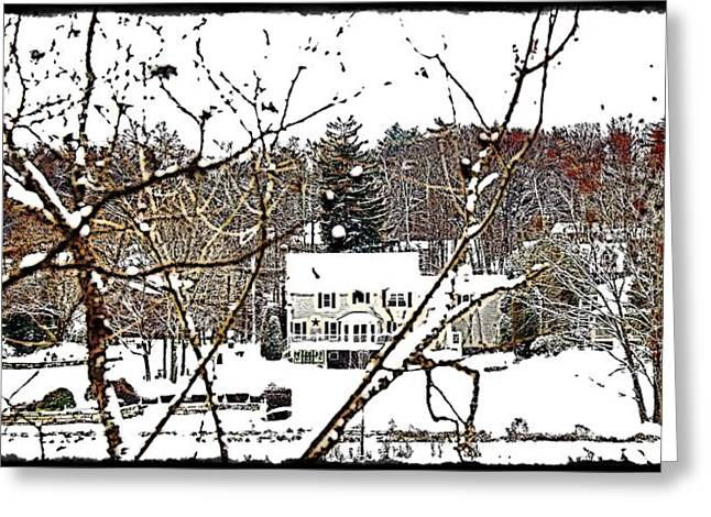Massachusetts Pyrography Greeting Cards - Winterland Greeting Card by Frank Garciarubio