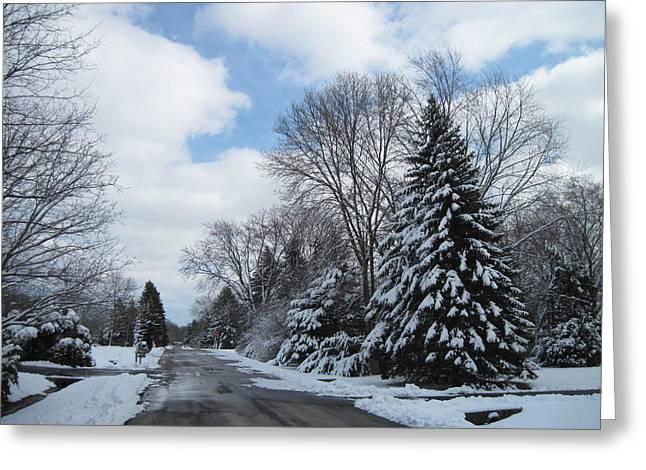 Winter Road Scenes Digital Greeting Cards - Winterland Way Greeting Card by Frederick Cross